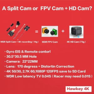 Hawkeye Firefly Ture 4K 50fps Split Camera WDR TV output for FPV